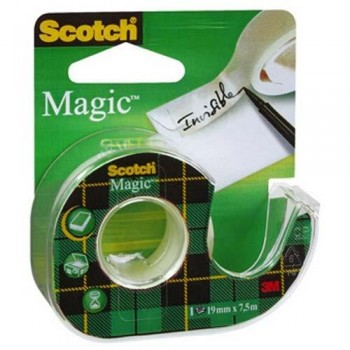 CINTA ADHESIVA INVISIBLE 7,5MX19MM. EN PORTARROLLOS RECARGABLE SCOTCH