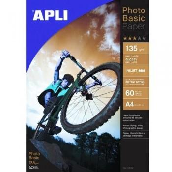 PAPEL FOTO A4 135 GR. 60 HOJAS PHOTOBASIC BRILLANTE PARA INKJET EXTRA BLANCO APLI