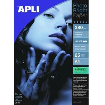 PAPEL FOTO A4 280 GR. 25 HOJAS BRILLANTE PRO PARA INKJET APLI