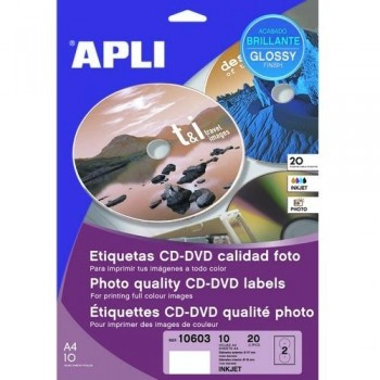ETIQUETA CD-DVD ?117/?18 MM. GLOSSY 10 HOJAS A4 20 UNIDADES ADHESIVO PERMANENTE APLI PARA INKJET