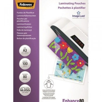 FUNDA PLASTIFICAR A3 80 MICRAS BRILLO 100 UNID. FELLOWES