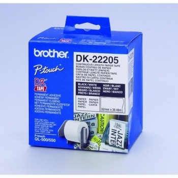 CINTA CONTINUA DE PAPEL BLANCA 62MM. X 30,48M PARA GAMA QL BROTHER