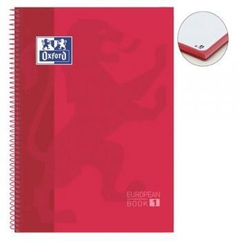 Cuaderno espiral A4+ 80 hojas 90 gramos 4 taladros cuadrícula 5x5 rojo European 1 Oxford