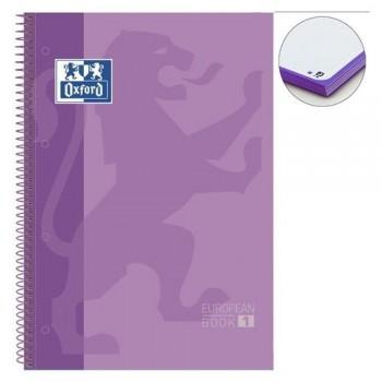 Cuaderno espiral A4+ 80 hojas 90 gramos 4 taladros cuadrícula 5x5 malva European 1 Oxford