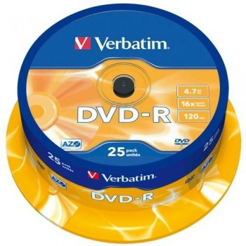 DVD -R 4.7GB 16X BOBINA 25 UNIDADES ADVANCED AZO VERBATIM