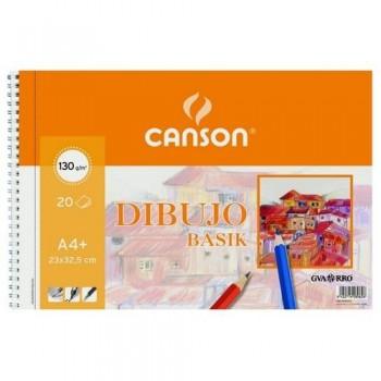 Bloc dibujo A4+ 20 hojas  23x32,5cm 130g Canson Basik
