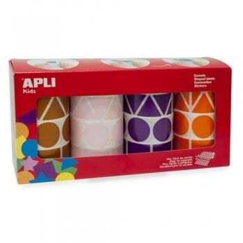 Gomets acharolado adhesivo permanente tamaño XL figuras geométricas surtidas colores surtidos Apli
