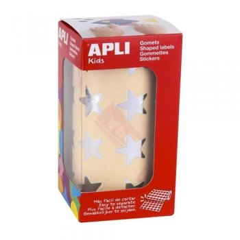 Gomets metalizado adhesivo permanente estrella grande Plata Apli