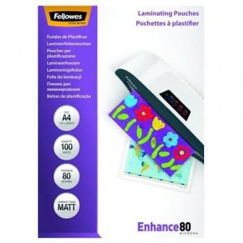 FUNDA PLASTIFICAR A4 80 MICRAS MATE 100 FELLOWES
