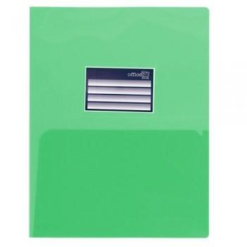 DOSSIER A4 PP 250 MICRAS DOBLE CON TARJETERO VERDE OFFICE BOX