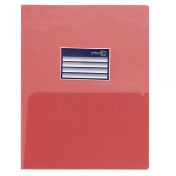 DOSSIER A4 PP 250 MICRAS DOBLE CON TARJETERO ROJO OFFICE BOX