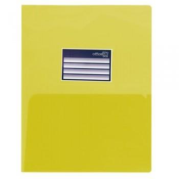 DOSSIER A4 PP 250 MICRAS DOBLE CON TARJETERO AMARILLO OFFICE BOX