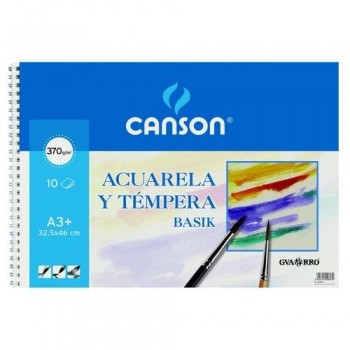 Cuaderno acuarela espiral A3+ 370 gr 10 hojas Basik Canson