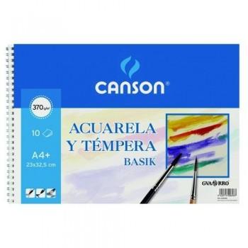 Cuaderno acuarela espiral A4+ 370 gr 10 hojas Basik Canson