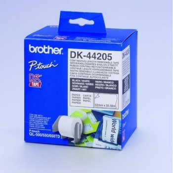 CINTA CONTINUA DE PAPEL REMOVIBLE BLANCA 62MM.X30,48M PARA GAMA QL BROTHER