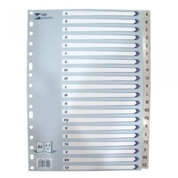 Separador A4 PP alfabético 16 taladros gris Ofiexperts