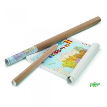 Mapa Mundi plastificado en tubo  cartón 83x138 cm Faibo
