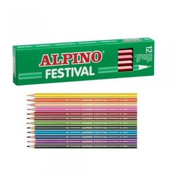 Lápiz color estuche 12 un. violeta Alpino Festival