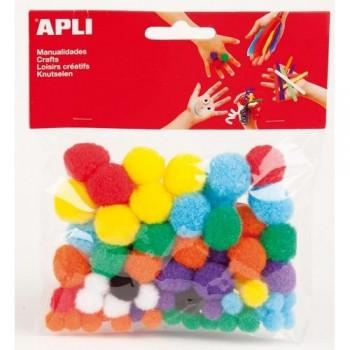 Pompones de colores surtidos 78 u en bolsa Apli