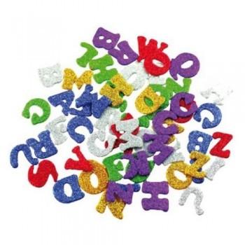 Figuras goma EVA adhesivas con purpurina letras 78 un. Smart