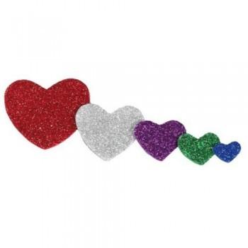 Figuras goma EVA adhesivas con purpurina corazones 59 un. Smart