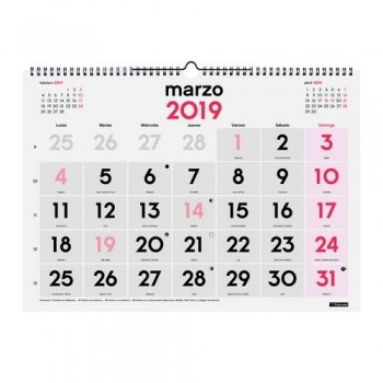 CALENDARIO PARED NÚMEROS GRANDES 430X310MM. L DOBLE ESPIRAL CASTELLANO FINOCAM