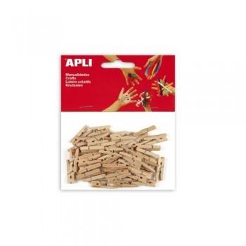 Pinzas de madera mini 25x3mm 45u Apli