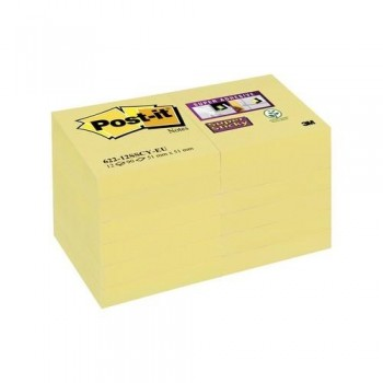 NOTAS ADHESIVAS 47,6X47,6MM COLOR AMARILLO CANARIO PACK DE 12 BLOCS SUPER STICKY  POST-IT