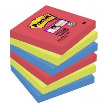 NOTAS ADHESIVAS SUPER STICKY 76X76MM. COLORES BORA BORA PACK DE 6 BLOCS  POST-IT