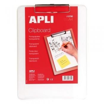 Tabla plástico transparente con pinza A4 Apli