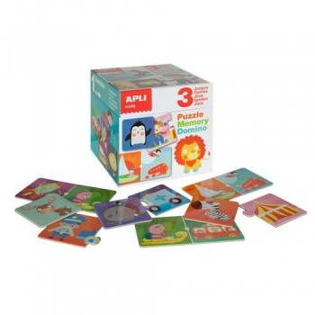 Juego educativo 3 juegos en uno puzzle, memory y domino Apli