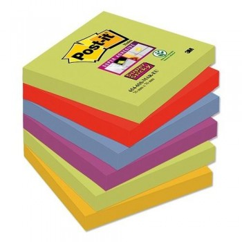 NOTAS ADHESIVAS SUPER STICKY 76X76 MM 6 BLOCS X 90HOJAS MARRAKESH POST-IT