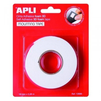 Cinta doble cara Foam pad blanco 19 mm x 2,28 m adhesivas Apli