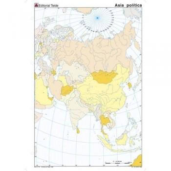 Mapa mudo color A4 político ASIA