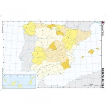 Mapa mudo color A4 político ESPAÑA