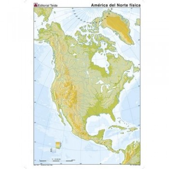 Mapa mudo color A4 físico AMERICA NORTE