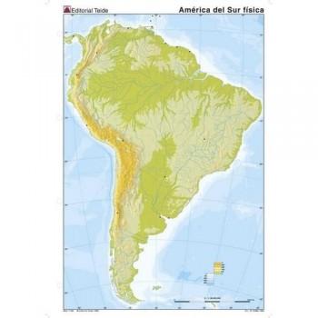 Mapa mudo color A4 físico AMERICA SUR