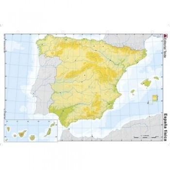 Mapa mudo color A4 físico ESPAÑA