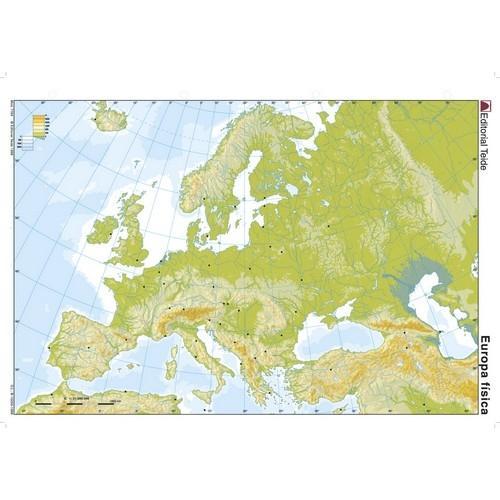 Mapa mudo color A4 físico EUROPA