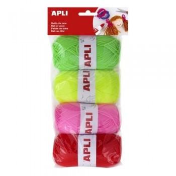 Ovillos lana 50gr. 4 un. tonos flúor APLI