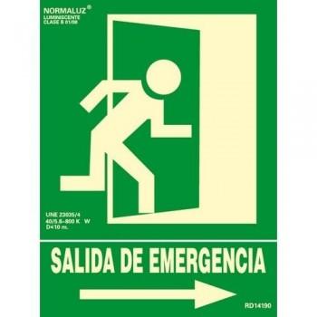 SE?AL PVC NORMALIZADA   SALIDA DE EMERGENCIA DERECHA    FOTOLUMINISCENTE 224X300MM ARCHIVO 2000