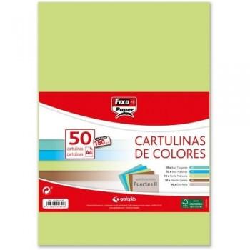 Cartulina A4 180gr. COLORES STDOS. FUERTES II paq. 50 hojas Fixo