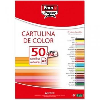 Cartulina A3 180gr. GRANATE paq. 50 hojas Fixo