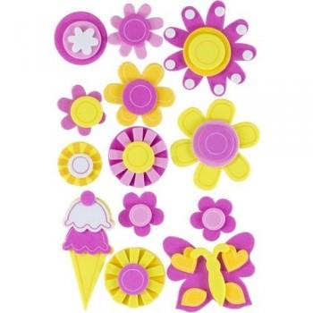 Figuras goma EVA adhesivas 3D Flores y helados Fixo Kids