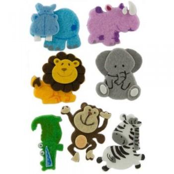 Figuras fieltro adhesivas 3D animales selva Fixo Kids