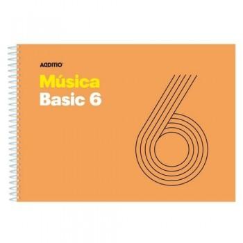Cuaderno música espiral 21.5 x 15.5 cm. 6 pentagramas Additio