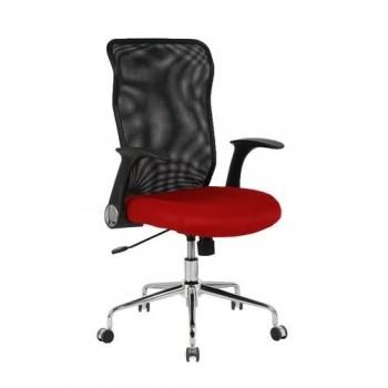 Silla oficina respaldo malla negro asiento rojo OFI4031