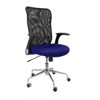 Silla oficina respaldo malla negro asiento azul OFI4031