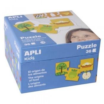 Puzzle 36 piezas caja cartón El origen de los Alimento Apli