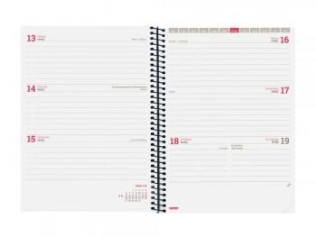 Agenda escolar S/V E10 con espiral tapa PP azul ESPIR LABEL Finocam catalán